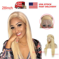 """US 28"""" Lace Front Wig W/Soft baby hair Silky Straight full Wigs #613 Blonde Fast"""