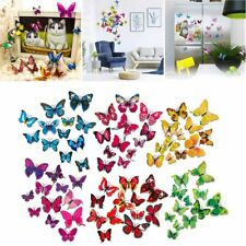 72pcs 3D Butterfly Wall Stickers Removable Mural Decals DIY Art Home Decoration