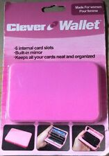 Plastic Clever Wallet Credit Business Card Organizer Slots With Mirror - Pink