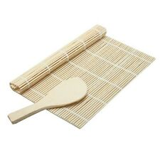 Sushi Maker : Rolling Roller Bamboo Material Mat + Rice Paddle