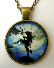 Medaillon vintage +Chaine collier bronze /Medallion + Chain necklace - Fairy/Fée