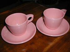 2 sets Boonton Dinnerware Cup & Saucer Vintage Melamine Melmac Pink Clean Bright