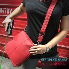 Gun Tote'n Mamas GTM-20/RED Concealed Carry Leather Handbag Crossbody Flat Sac