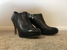 Vince Camuto Elvin Black Leather Platform Ankle Heel Booties Shoes Womens 5.5
