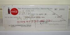 Vintage Coke Coca Cola Bottling Company Check 1955 Waycross Georgia Bank Central