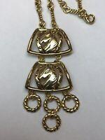 Vintage Gold Tone Horse Statement Necklace