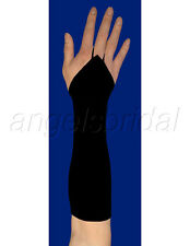 "15"" BLACK FINGERLESS ELBOW LENGTH STRETCH SATIN BRIDAL WEDDING COSTUME GLOVES"