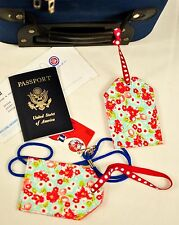 """hand crafted fabric luggage tags set of 2 secure info 3.5"""" X 5.5"""" blue & red"""