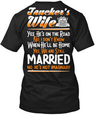 Great gift Truckers Wife - Jaucker's Yes He's On The Hanes Tagless Tee T-Shirt