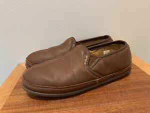 Rare L.L. Bean ELKHIDE Leather Slippers Padded Comfort Slip On 272346 Men's 10 M