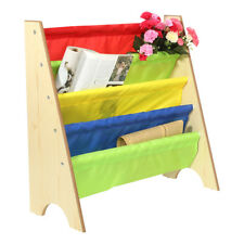 Multi-color Kids Wooden Bookcase Shelf Toy Book Storage Rack Pocket Tidy Globe Dark Wood Grain