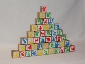 Playskool Jim Henson Sesame Street 45 Wood Blocks Characters ABC 1975