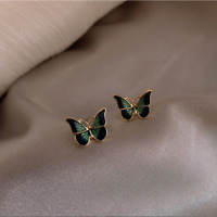 Exquisite Vivid Butterfly Enamel Stud Earrings Chic Yellow Gold Filled Jewelry