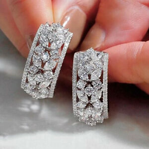 Gorgeous 925 Silver Drop Earrings Women Jewelry White Sapphire A Pair/set