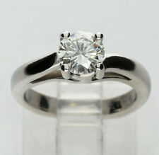 Platinum diamond solitaire engagement ring bypass round brilliant .85CT sz 3 3/4
