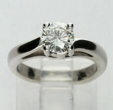 Platinum diamond solitaire engagement ring bypass round brilliant .85CT sz 3 3/4
