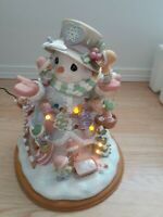 """PRECIOUS MOMENTS ILLUMINATED SNOWMAN ' BUILDING SOMETHING SPECIAL"""" LIMITED RARE"""