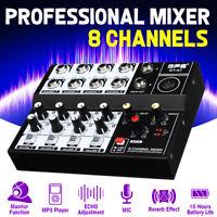 Mini 8 Channels Digital Audio Mixer Portable Mixing Stream Amplifier Effect