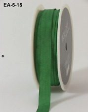 1/2 Inch Solid Wrinkled Ribbon - May Arts - EA15 - Green - 5 yds.