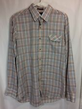 Vintage Levis Tailored For Men Flannel Shirt Large Made in USA Plaid Red Tan