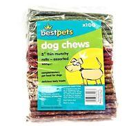 "MUNCHY ROLLS ASSORTED THIN - (5"" inch) - Best Pets Dog Treats Chews bp Rawhide"