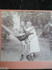 STA241 Scène de genre Hamac Couple Guitare vintage Photo 1900 STEREO stereoview