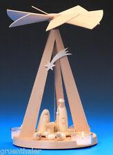 Pyramide Mini Delta Christi Geburt natur Teelicht Schalling Seiffen Erzgebirge