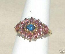 10K Pink Tourmaline & Neon Blue Apatite Ring