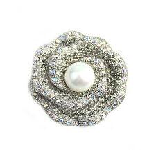 Luxury Shiny Silver White Pearl Rose Bridal Wedding Brooch Pin BR205