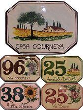Numeri civici targhe ceramica insegna mattonella per casa 18x12 con disegno