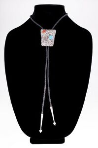 Sterling Silver Signed FS Bolo Tie with Coral and Turquoise Accents