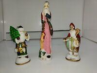 Set of 3 Nostalgic 1900 1910 1911 SANTA Ornaments Figurines Ceramic