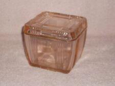Hazel Atlas Pink Glass Criss Cross Square Covered Refrigerator Dish