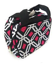 Geometric Aztec Insulated School Work Camp Travel Lunch Box Bag Case Black Pink