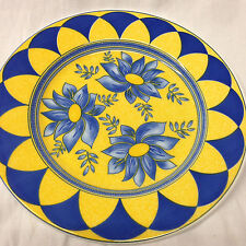 "QUADRIFOGLIO ITALY QUD46 SALAD PLATE 7 7/8"" BLUE FLOWERS ON YELLOW ARCHES"
