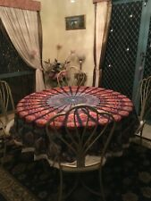 Round table cloth 190cm diameter 100% Cotton Bohemian Rainbow with lace