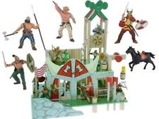 VIKING FORT PAINTED WOODEN LE TOY VAN with 5 figures Papo NEW and RARE figurine