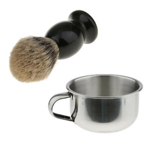 Salon Barber Beard Hair Shaving Brush with Steel Mug Bowl Travel Set for Men