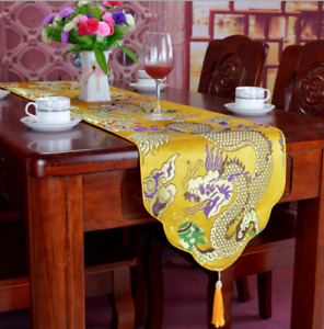 Top Noble Classic Chinese Dragon Handmade Silk Table Runner Bed Flag