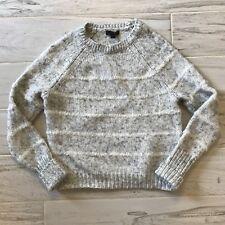 J Crew Womens Mohair Fuzzy-Stripe Sweater Gray Offwhite - Size S