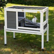 Rabbit Hutch Bunny Guinea Pig Hamster Cage Wood Pet House Indoor&Outdoor w/Wheel