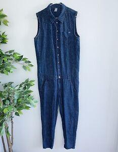 G Star Raw Women's Size S Sleeveless Lancer Jumpsuit Boiler Suit One Piece Blue