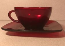 SET OF 4 ANCHOR HOCKING ~ FIRE KING CHARM RUBY RED GLASS CUP & SAUCER SETS