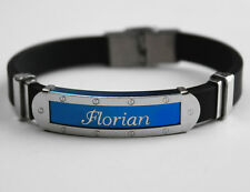 FLORIAN - Mens Silicone & Blue Name Plate Engraved Bracelet - Gifts For Him