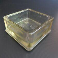 Cendrier carré récipient vide poche verre art déco design XXe fait main N5501