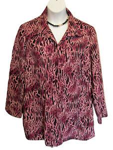 Zebra Print Blouse Shirt Size XL 20 22 XLG PURPLE Black Top Career Animal Blair