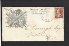 """ELIZABETHTOWN,NEW YORK,1886,#210 ILLUST ADVT COVER, """"VALLEY HOUSE"""" GUNS,FISHING."""