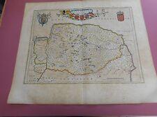 100% ORIGINAL LARGE NORFOLK MAP BY J BLAEU C1648 HAND COLOURED