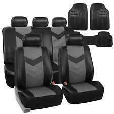 Faux Leather Car Seat Covers for Auto Gray Black W/ Heavy Duty Floor Mats