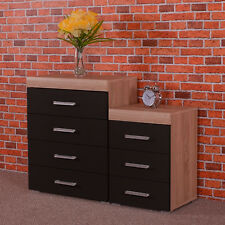 Black & Sonoma Oak 4 Drawer Chest & 3 Draw Bedside Cabinet Bedroom Furniture Set